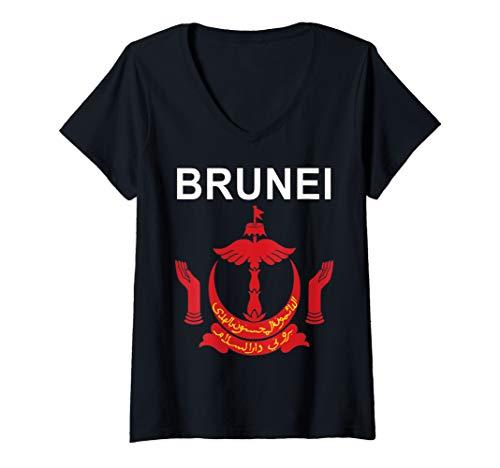Womens National Emblem of Brunei V-Neck T-Shirt