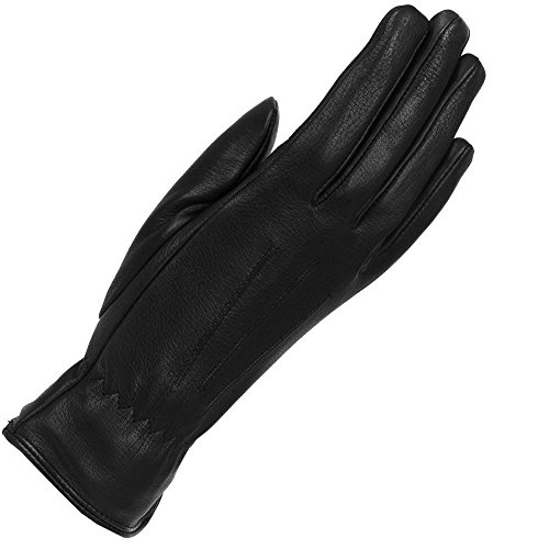 Wilsons Leather Womens 3 Draw Thermolite Deerskin Leather Glove S Black -