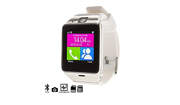 DAM - GV 18 Smart Bluetooth Watch White/Silver: Amazon.es ...