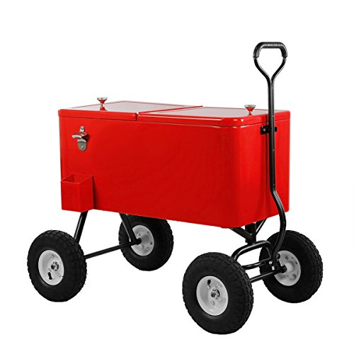 Clevr 80 Qt Party Wagon Cooler Rolling Cooler Ice Chest, Red, with Long Handle and 10'' All Terrain Wheels, Portable Patio Party Bar Cold Drink Beverage Chest, Outdoor Cooler Cart on Wheels by Clevr (Image #2)