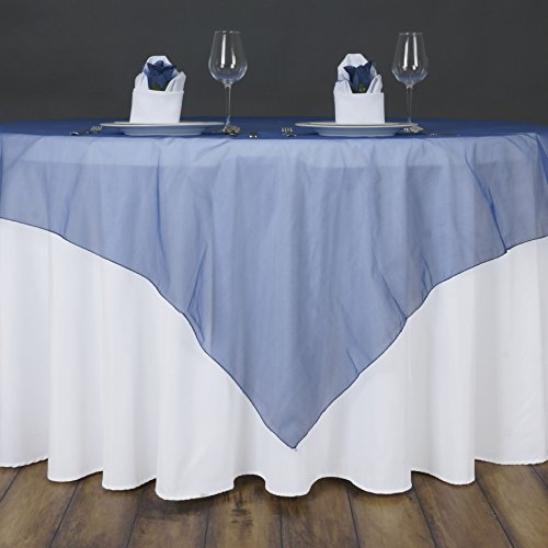 (BalsaCircle 5 pcs 72x72-Inch Navy Blue Sheer Organza Table Overlays - Wedding Reception Party Catering Table Linens Decorations)