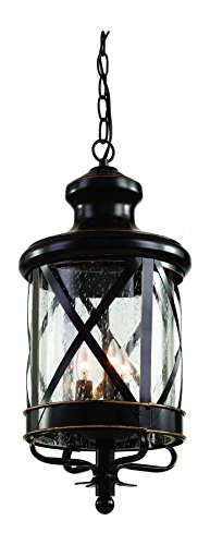 Three Light Rubbed Oil Bronze Clear Seeded Glass Hanging Lantern