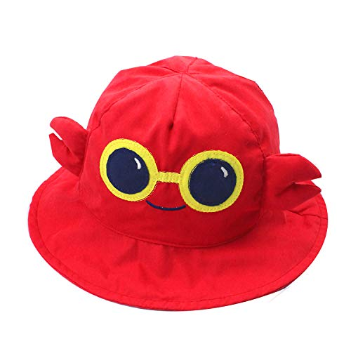 Baby Toddler Fisherman Bucket Hat Crab Pattern Sunhat with Chin Strap Red Girls Boys 6-12months