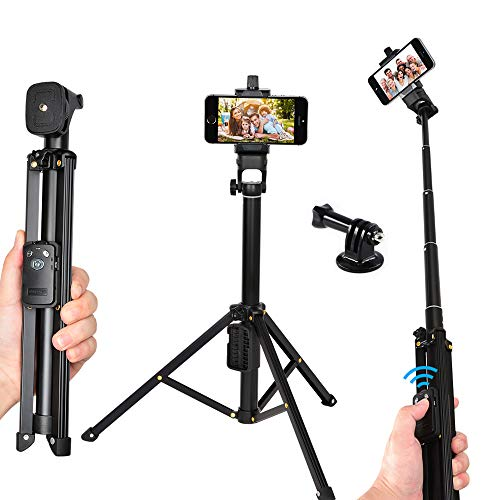 Bluetooth Selfie Stick Tripod with Wireless Bluetooth Remote Compatible iPhone x 8 7 6s 6 Plus for Galaxy s9 s8 Digital Camera Load 5kg (selfie stick tripod)