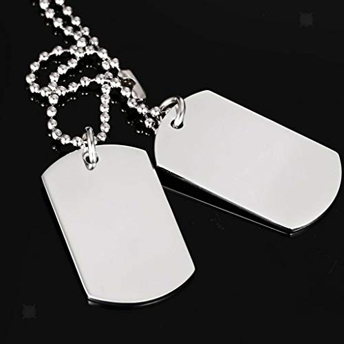 - Fashion Dog Tag Stainless Steel Pendant Necklace Black High Polished Silver Necklace Jewelry Crafting Key Chain Bracelet Pendants Accessories Best