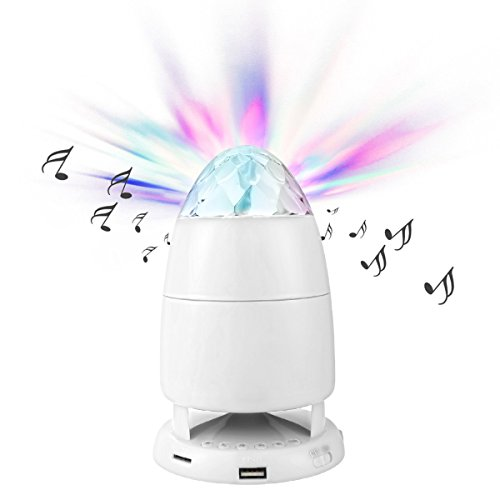 Amplifier 5 Watt Music Instrument (Bluetooth Speakers with Colored LED Light Show RicoRich Built-in Microphone Handsfree Calling, Mini Disco Party Speaker for Family Party Occasions Children Gift New Blue (White))