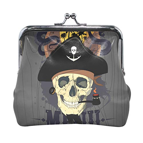 Coin Purses Halloween Pirate Skull Kiss-lock Buckle Vintage Clutch Cosmetic Bags