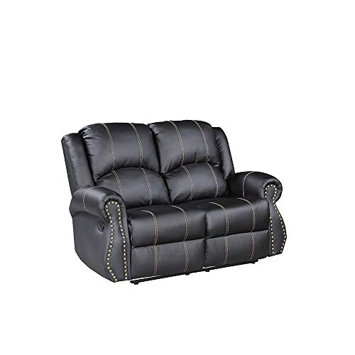 Mecor Bonded Leather Reclining Loveseats Gold Thread Double Seats Recliners Living Room Furniture 2 Seat, Black