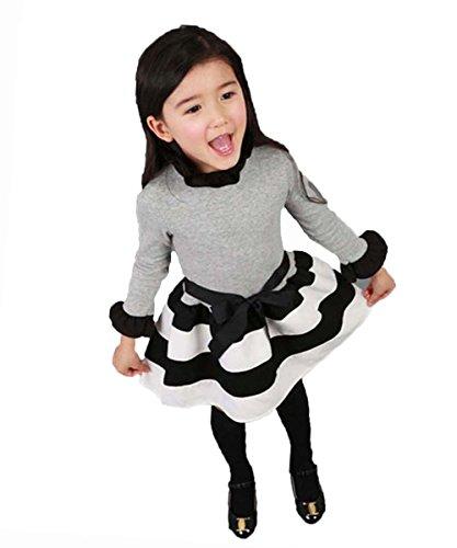 Sweet Baby Girls Princess Polka Dot Plaid Party Wedding Formal Gown Fancy Dress (130(Advice5-6Years), black&white stripe)