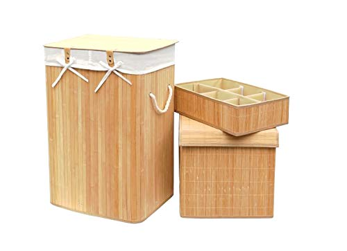 Set of 3 Laundry Hampers Bamboo Square Wicker Clothes Bin Baskets Storage Bin Organizers Retail Dump Bin 100205