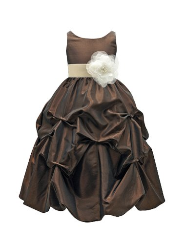 champagne and chocolate brown flower girl dresses - 2