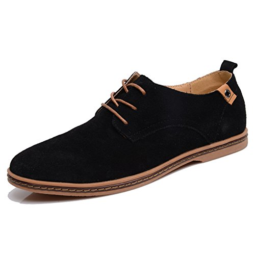 Shibever Mens Läder Klassiska Oxfords Tillfälliga Skor Spets-up Lägenheter Loafers Svart