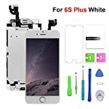 FFtopu Compatible with iPhone 6s Plus Screen Replacement White,(5.5'') LCD Display with 3D Touch Screen Digitizer Full Assembly+Home Botton+Front Camera+Earpiece+Free Screen Protector+Repair Tools Kit