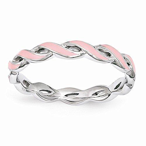 Silver Pink Enamel Ring - 8