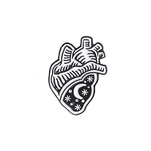 Star Moon Brooches Black Heart Enamel Pin for Boys Girls Lapel Pin Hat/bag Pins Denim Jacket Women Brooch - Black Enamel Heart