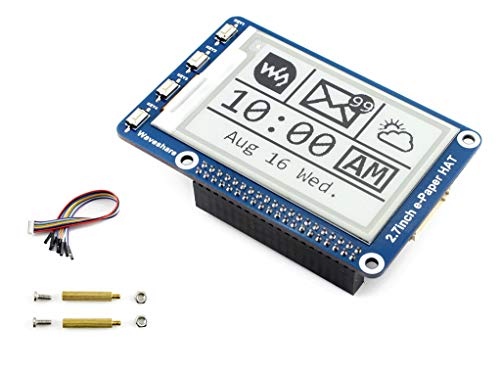 264x176 Resolution 2.7 inch e-Paper Display Hat E-Ink Screen LCD Module SPI Interface with Embedded Controller for Raspberry Pi 2B 3B 3B+ Zero Zero W/Arduino/STM32
