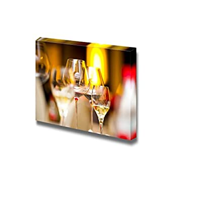 Canvas Prints Wall Art - Glass of Wine on Table Ideal for Resturant or Bar Wall Art | Modern Wall Decor/Home Art Stretched Gallery Canvas Wraps Giclee Print & Ready to Hang - 32