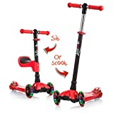 Lascoota 2-in-1 Kick Scooter for Kids with Removable Seat Great for...