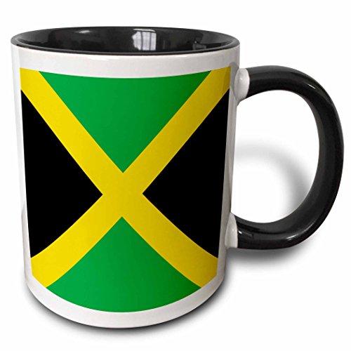 3dRose 158342_4 Flag of Jamaica Square Mug, 11 oz, Black