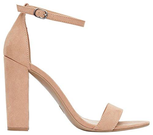 Rohb by Joyce Azria Monaco High Block Heel Ankle Strap Sandal (Nude) Size 9 ()