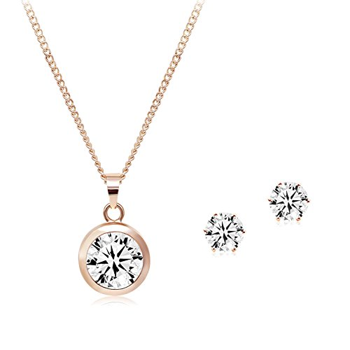 Necklace Round Rubber (T-Doreen Cubic Zirconia Round Stone Pendant Necklaces and Studs set for Women Rose Golden)