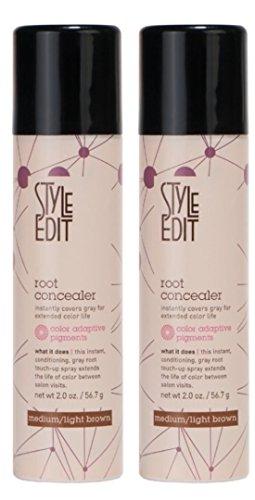 Style Edit Root Concealer Factory Fresh, Medium Light, Brown 2oz 2 Pack