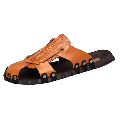 Corriee Most Wished Mens Hollow Out Leather Sandals Slippers Shoes Flats Brown (Charms For Ugg Boots)