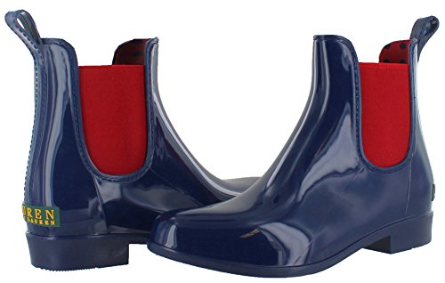 Lauren Ralph Lauren Womens Tally Stivale Da Pioggia Moderno Navy / Rl Rosso Brillante Solido Pvc / Elastico