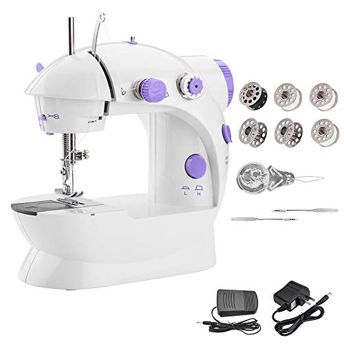 Portable Sewing Machine WADEO Mini Sewing Machine with Adjustable 2-Speed Double Thread Electric Crafting Mending Machine with Light, Cutter and Foot Pedal for Household, Travel, Double Use for Power