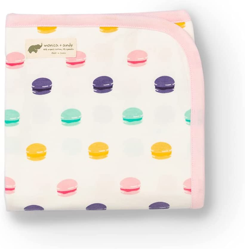 Monica + Andy Unisex Organic Cotton Coming Home Newborn Blanket Pink Le Macaron, White, OS