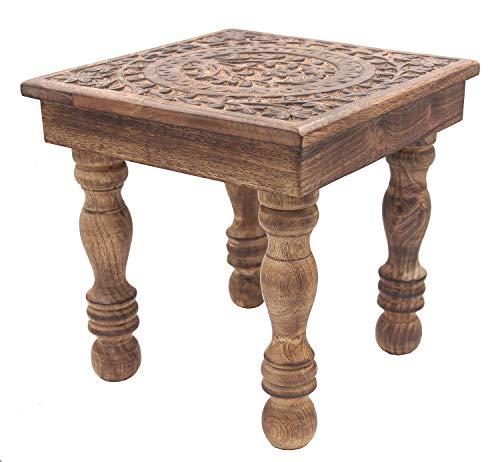 DharmaObjects Solid Mango Wood Hand Carved Prayer Puja Shrine Altar Meditation Table (Tree Life)