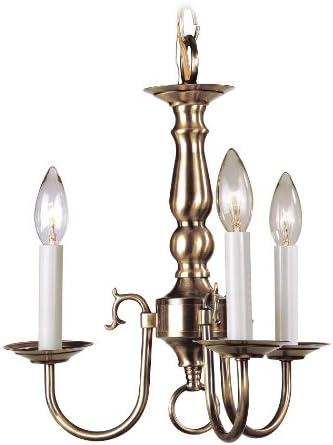 Livex Lighting 5013-01 Williamsburg 3 Light Antique Brass Hanging Lantern Flush Mount Mini Chandelier