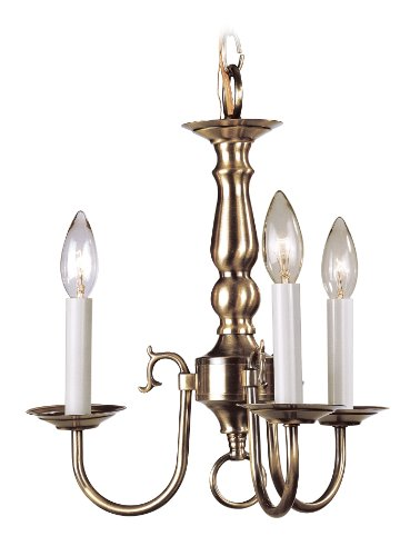 Livex Lighting 5013-01 Williamsburg 3 Light Antique Brass Hanging Lantern / Flush Mount Mini Chandelier Antique Brass Williamsburg 1 Light