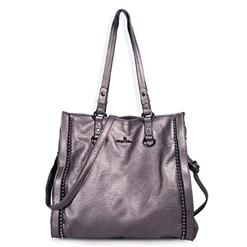Angelkiss Women's Soft PU Leather Tote Bag Top Handle Shoulder Handbags and Purses with Zipper (Pewter) ()