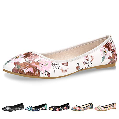Floral Ballerina Dress - CINAK Floral Flats Shoes for Women Classic Black Walking Comfortable Slip On Ballet Casual Round Toe Flats (8-8.5 B(M) US/ CN40 / 9.84'', White)