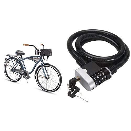 "Huffy 26"" Blue Panama Jack Beach Cruiser Bundle with Combination Key Bike Lock"