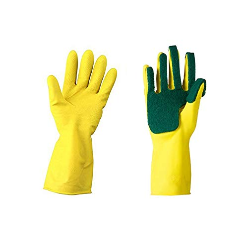 Kitchen Wash Rubber Gloves with Scouring Cloth Sponge On The Inner Fingers, All-in-one for Clean The Kitchen Tool Protect Hand Gloves - AUTOFAN