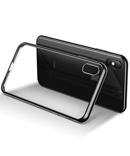 GVIEWIN Ultra Slim Designed for iPhone Xs Max Case, TPU Soft Cover Shockproof Anti-Scratch Cell Phones with Electroplated Frame, Crystal Clear Protective Cover for iPhone Xs Max 6.5 Inch 2018 (Black)