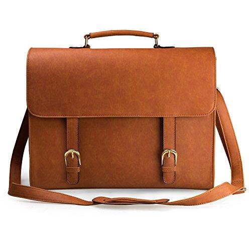 Estarer Women Faux Leather Briefcase Vintage 15 Inch Computer Messenger Business School Bag