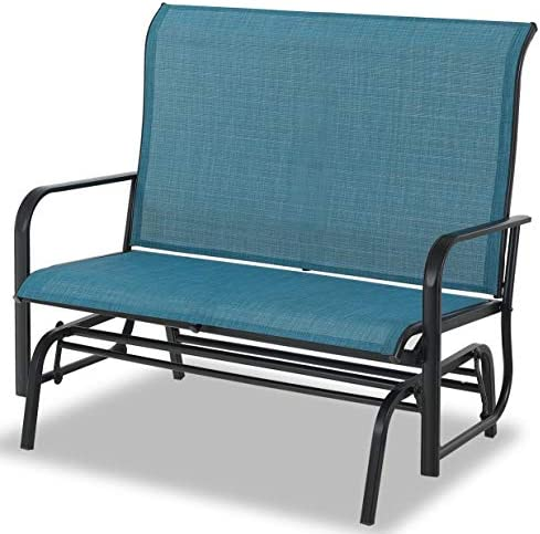 Sophia William Patio Glider Rocking Chair for 2 Person, Outdoor Swing Love Seat Rocker Chair Bench of Sling Fabric and Power Coating Metal Frame for Porch, Balcony, Backyard