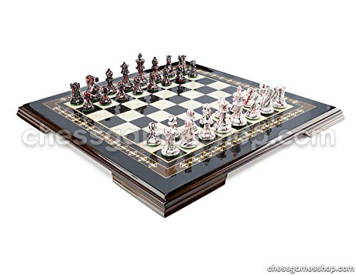 - Luxury Handmade Chess Set, Wooden Chessmen Special Colored Mosaic Black, Extra Queens