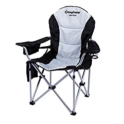 KingCamp Folding Quad Chair Lumbar Back Support Light Weight Portable Deluxe Padded Oversized with Cooler and Armrest for Camping, Carry Bag Included
