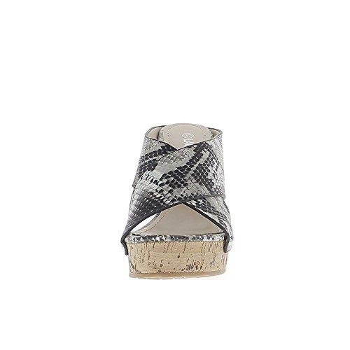 Zoccoli di serpente nero compensata a 11,5 cm tacco largo intersecanti flange
