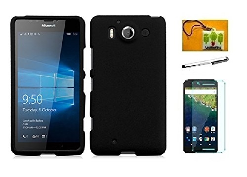 Stylus Phone Nokia (Microsoft Nokia Lumia 950 Case, (AT&T), LF 4 in 1 Bundle, Hard Rubbrized Cover Case, Stylus Pen, Screen Protector & Wiper Accessory (Hard Black))