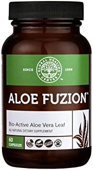 Global Healing Aloe Fuzion Bio-Active Organic Aloe Vera Leaf Supplement - 200x Concentrate Formula with Highest Concentration of Acemannan - Aloin-Free - Blood Sugar & Immune Support - 60 Capsules 1