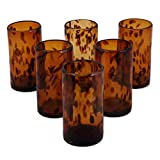 NOVICA Hand Blown Brown Recycled Glass Water Glasses,12 oz 'Tall Tortoise Shell' (set of 6)