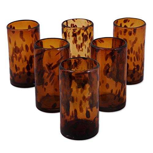(NOVICA Hand Blown Brown Recycled Glass Water Glasses,12 oz 'Tall Tortoise Shell' (set of 6))
