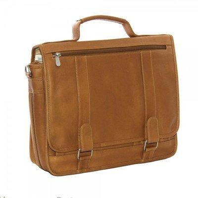 Piel Leather Double Loop Expandable Laptop Briefcase, Chocolate ()