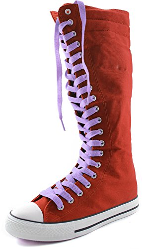 DailyShoes Women's Canvas Mid Calf Tall Boots Casual Sneaker Punk Flat, Red Boots, Lavender Lace (Red Flat Boots)