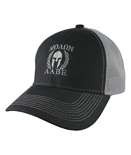 fc0c1219 Molon Labe Roman Spartan Warrior Mask in Laurels Silver Embroidery on an  Adjustable Black Structured Truckers